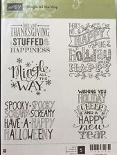 """""""MINGLE ALL THE WAY"""" Stampin'UP! NEW~WOOD/rubber unmounted-Christmas`NewYears"""