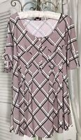 NEW Plus Size 2X Black Pink Blouse Pin Tuck Jersey Knit Shirt Cocomo Top