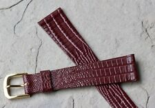 Popular oxblood color tapered Leather lizard pattern 19mm vintage watch band NOS