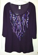 Sz 1X ONLY NINE WOMAN PURPLE EMBELLISHED RIBBED PULLOVER TUNIC TOP SEQUIN DESIGN