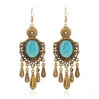 Turquoise Earrings Gypsy Bohemian Boho Tassel Dangle Bead Handmade Blue Beads