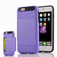 Hard Hybrid Armor Credit Card Slide Slot Holder Back Case Cover iPhone 6s 7 Plus