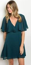 Dark Green Chiffon Evening Ruffle Cocktail Party Lined flare Skater Shift Dress