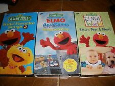 lot of 3 Sesame Street Elmo VHS Grouchland, Favorite Songs 2, Babies Dogs & More