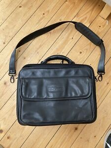 Black Leather Business Laptop Briefcase