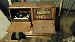 1950s?? Vintage Garrard Turntable and Electrola-gram Radio Unit, Veneer cabinet
