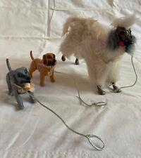 Vintage Barbie Vintage Afghan Hound Dog & 2 Puppy Hound Dogs - collars/leashes