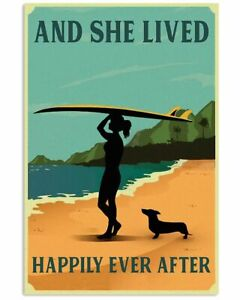 Vintage She Lived Happily Surfing Girl Dachshund Vertical Poster