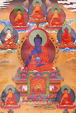 48Inch Tibetan Buddhist Thangka Deity 8 Medicine Buddha Silk Brocade Wood Scroll