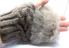 Ladies Fingerless Fur Winter Knitted Wool Gloves/Brown