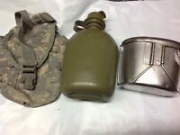 USGI 1QT Canteen+Heating Cup+ACU Digital Camo Pouch Cover MOLLE Army Military