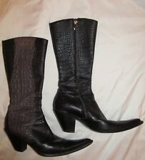 GIANNI BRAVO balck and taupe croc goth rocker Cowboy western pointy toe boots *