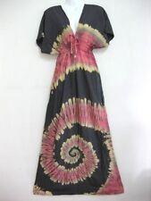 Women Tie Dye V Neck Dress Maxi Dress Spiral Sundress Bohemian Gypsy Kimono TDMD