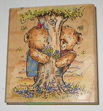 Teddy Bears Tree Rubber Stamp Penny Black Rambling Love 358J Me You Flowers