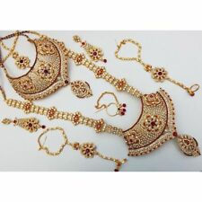 Jodha's Gold Plated Complete Bridal Kundan Zerconic Jewelry Set All Accessories