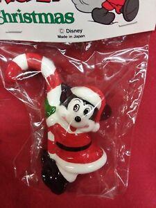 Disney 1991 Vintage Mickey holding a Candy Cane Christmas Ceramic Ornament