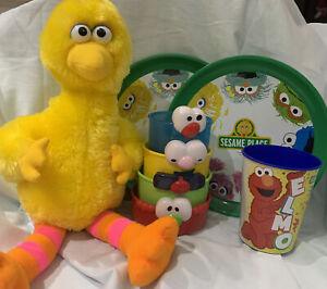 "Sesame Street 15"" Big Bird Yellow Plush, 2 Plastic Plates, Elmo &!Stacking Cups"