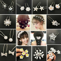 Chic Flower Wedding Hair Pins Bride Crystal Diamante Pearls Bridal Clips Grips
