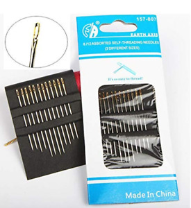 12 Hand Sewing Needles set  Self Threading Tools Craft (12 count)  USA