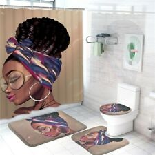 4 Pack African Women Shower Curtain Set Waterproof Bath Curtains Bathroom Decor
