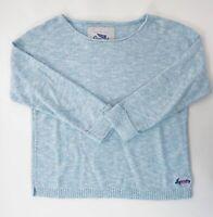 Superdry Damen Rundhals Pullover Gr.XS blau meliert Baumwolle -P1160