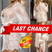 White Sheer Floral Lace Gown Dress Chemise Nightie Lingerie Babydoll Robe M-5XL