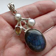 Labradorite Pendant Sterling Silver Citrine Pearl Solid 925 Gemstone Jewellery