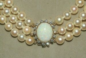 VTG  14K GOLD TRIPLE Pearl Collar with 7CT Opal  & Diamond catch  ? Necklace