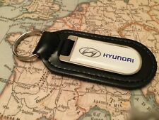 HYUNDAI PRINTED Quality Black Real Leather Keyring
