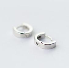 925 Sterling Silver Plain Thin Small Cuff Hoop Huggie Earrings 9x2mm Men Women