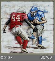 Galvanized metal home decor 2018 new custom oil painting Football 3d wall art NR