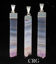 Silver Plated 40-50mm LONG BAR Amethyst Pendant (DR50CN)