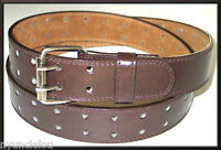 Men's/ Women's  Unisex  2 Hole Grommets Leather Belts Double Prong Roller Buckle
