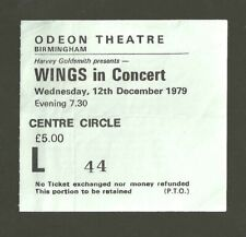 THE BEATLES WINGS CONCERT TICKET ODEON THEATRE BIRMINGHAM 12/12/79
