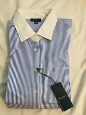 Faconnable Blue and White Pinstripe Solid White Collar and Cuffs Women's Size 16