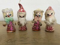 Vintage Spun Cotton Mica Christmas Ornaments Girls Lot Of 4