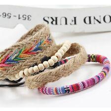 2017 4Pcs Set New Women Men Ethnic Boho Multilayer Beads Bracelet Bangle Jewelry