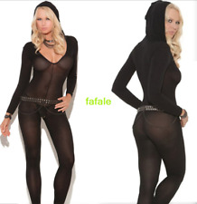 Womens Sexy Lingerie Long Sleeve Bodysuit Perspective Hooded Jumpsuit Underwear