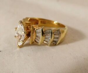DAC Cubic Zirconia Marquise Gold Plated Cocktail Engagement Ring Size 7