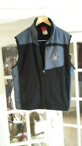 a SPIDER Men Black and Grey Fleece with Nylon Trim Vest Jacket Size L