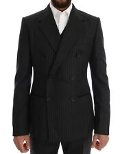 NEW $2800 DOLCE & GABBANA Suit Black Striped Double Breasted 3 Piece EU48 / US38