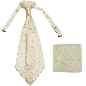 New men's polyester ASCOT cravat neck tie & hankie set Ivory Paisley prom