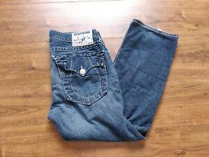 True Religion Ricky Blue Jeans Men's 34 Waist 28 Inseam