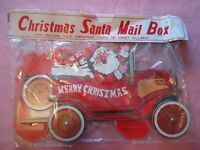 VTG CHRISTMAS MAILBOX PRESENTS SANTA VINTAGE CAR 1940 CARDBOARD
