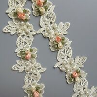 1 Yard Vintage Pearl Flower Floral Apricot Embroidered Lace Edge Trim Ribbon