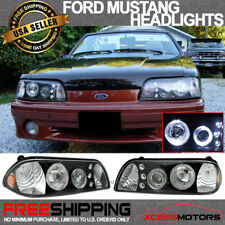 Fits 87 93 Ford Mustang Black Housing Halo Projector Headlights Led Pair Fits Mustang