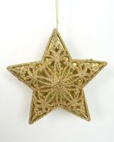 NEW Gold Glitter Fancy 3-D Star Holiday Christmas Tree Ornament Decoration