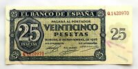 Spain- Guerra Civil. Billete. 25 Pesetas 1936. Burgos. SC-/UNC-. Escaso.