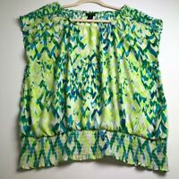 Ann Taylor Women's Short Sleeve Blouse Top XL Green Blue Geometric Elastic Waist