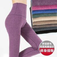 Women's Winter Cashmere Wool blend Leggings Snug Pants High Waist Warm Trousers